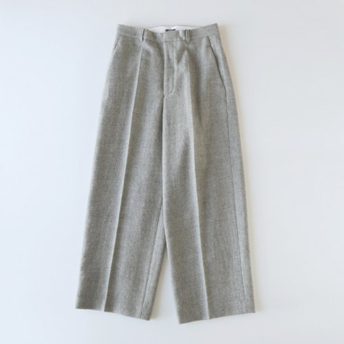 WOOL MILLED HI-WEST TUCK TROUSERS
