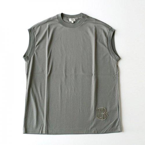 コットンクルーネック刺繍ノースリーブTシャツ
