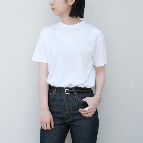 コットンクルーネック刺繍半袖Tシャツ
