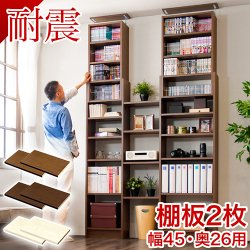 耐震 つっぱり書棚 奥深 棚板パーツ2枚組 W45cm×D26cm 突っ張り 本棚