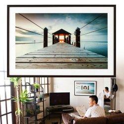 アートパネル 海 リゾート 桟橋 シンメトリー写真/アートフレーム/額/壁/アート/壁掛け/パネル フレーム インテリアパネル オフィスかカフェ