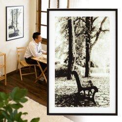 アートパネル 木 林 公園 ベンチ リゾート 桟橋 アシンメトリー写真/アートフレーム/額/壁/アート/壁掛け/パネル フレーム インテリアパネル オフィス