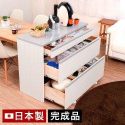 キッチンカウンター 幅110.5cm 鏡面ピアフォルテ 白ホワイト 大容量 丈夫お手入れ簡単コーティング美しい天板<br>日本製 完成品 アイランドキッチン レンジ台