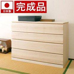 日本製 完成品 桐クローゼット4段 天然桐材使用 和風衣類収納