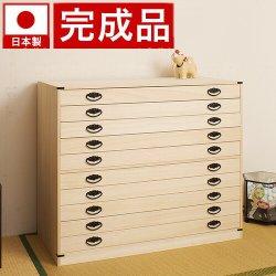 日本製 完成品 たとう紙ごと収納 桐たんす10段 天然桐材使用 和風衣類収納 着物収納箱
