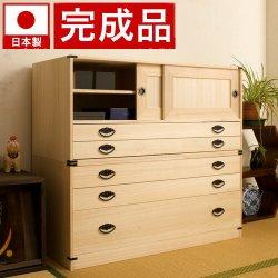 日本製 完成品 桐タンス引戸2杯+3段チェスト高さ90 2点セット 天然桐材使用