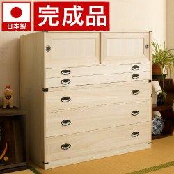 日本製 桐タンス引戸2杯+桐深型3段チェスト高さ106 2点セット天然桐材使用