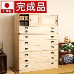 日本製 桐タンス引戸2杯+6段チェスト高さ129 2点セット 天然桐材使用