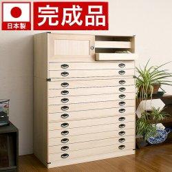 日本製完成品 桐タンス引戸2杯+10段チェスト高さ129 2点セット天然桐材使用