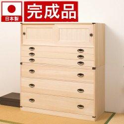 日本製 桐タンス引戸3段+深型3段チェスト高さ114 2点セット天然桐材使用