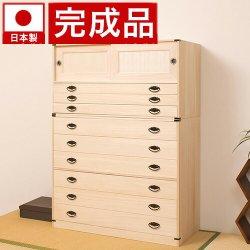 日本製 桐タンス引戸3段+6段チェスト高さ137 2点セット 天然桐材使用