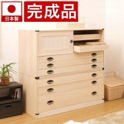 日本製 桐タンス引戸3段+3段チェスト高さ98 2点セット 高さ98 天然桐材使用