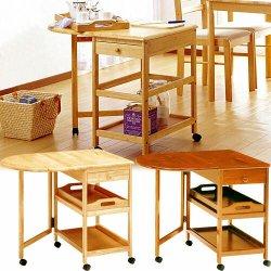 木製テーブル付ワゴン キッチンワゴン