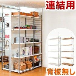 突っ張り壁面間仕切りラック幅88cm 連結用 背板無しタイプ