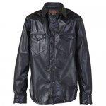 ショット P524 レザーシャツ ブラック