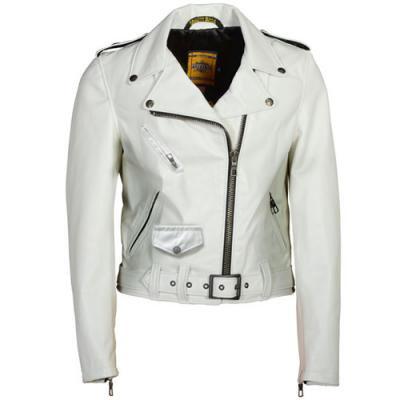 ショット SPERW 女性用 ラムスキン レザージャケット オフホワイト