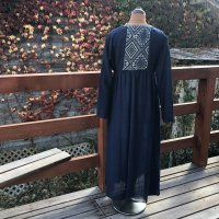 yumtso  Lao Textile Gown one piece 藍染タイシルク
