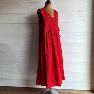 [Tribal Arts] -カシュクールノースリーブロングワンピース- RED