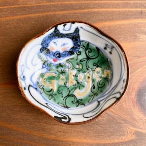 [稲葉カヨ]<br> 福々絵付けつば型豆皿 -gokigen泥棒ネコ-