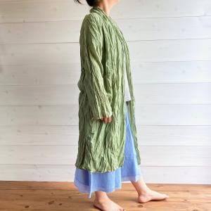 [yumtso] -gauze cardigan long-green