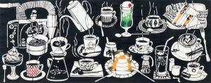 [工房カモ]<br>注染手ぬぐい -喫茶店- エスプレッソ