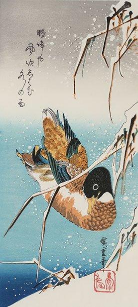 雪中芦に鴨