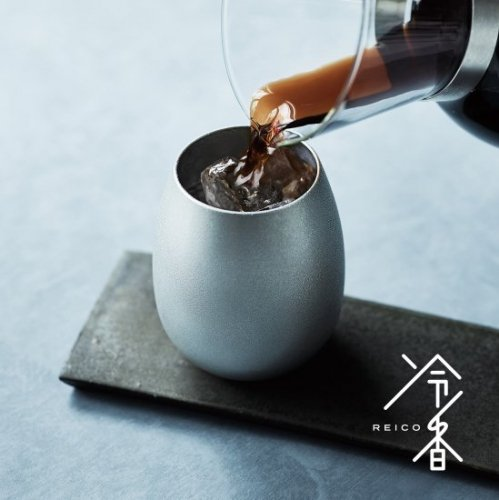 冷香 -reico- 白上(ツヤなし)420mL<名入れ追加可能>【千田硝子食器×大阪錫器コラボ開発商品】アイスコーヒー/錫タンブラー/桐箱入り