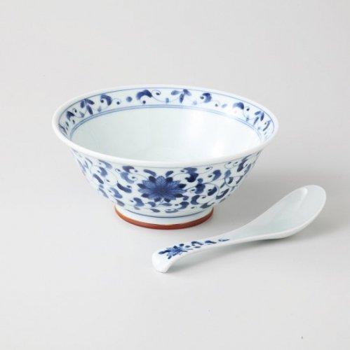 花唐草 軽量麺鉢&レンゲセット【2093-1-5】