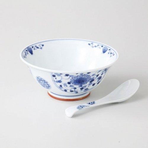 花伊万里 軽量麺鉢&レンゲセット【2093-2-5】