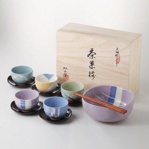 紅山窯 色どり五彩茶菓揃【2136-4-43】
