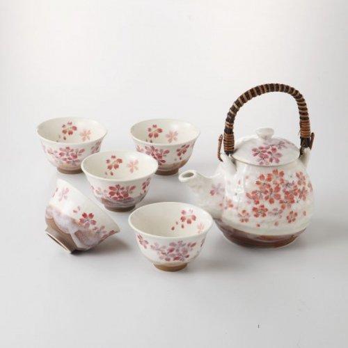 平安桜土瓶茶器【2137-3-10】