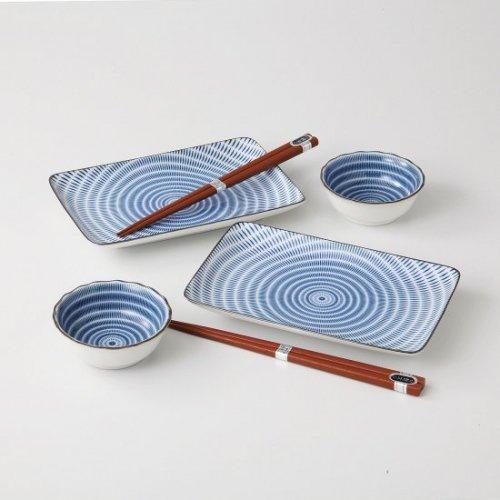 十草(青) 新焼物皿3.0ボールセット【2075-3-45】