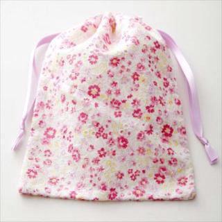 抗菌巾着袋かわいいマスク用花柄ピンク(2枚入り) - おしゃれなマスクのショップ「ツーヨン」・おしゃれマスク・かわいいマスク・デザインマスク