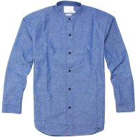 <img class='new_mark_img1' src='https://img.shop-pro.jp/img/new/icons24.gif' style='border:none;display:inline;margin:0px;padding:0px;width:auto;' />【TONY TAIZSUN】FINLESS SHIRT BLUE ノーカラーシャンブレーシャツ トニータイズサン