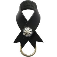 <img class='new_mark_img1' src='https://img.shop-pro.jp/img/new/icons14.gif' style='border:none;display:inline;margin:0px;padding:0px;width:auto;' />【BUTTON WORKS】CONCHO RIBBON KEYRING BLACK レザーキーリング ボタンワークス