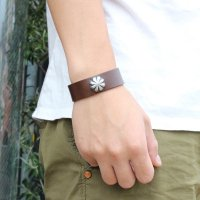 【BUTTON WORKS】CONCHO RIBBON BRACELET CHOCO レザーブレスレット ボタンワークス