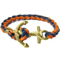 <img class='new_mark_img1' src='https://img.shop-pro.jp/img/new/icons24.gif' style='border:none;display:inline;margin:0px;padding:0px;width:auto;' />【BUTTON WORKS】ANCHOR WOVEN BRACELET ORANGE/NAVY レザーブレスレット ボタンワークス