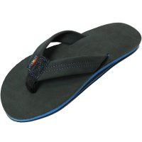 【RAINBOW SANDALS】SINGLE LAYER PREMIER LEATHER WITH BLUE MIDSOLE BLACK/BLUE レザーサンダル レインボーサンダル