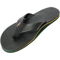 <img class='new_mark_img1' src='https://img.shop-pro.jp/img/new/icons14.gif' style='border:none;display:inline;margin:0px;padding:0px;width:auto;' />【RAINBOW SANDALS】SINGLE LAYER LEATHER WITH RASTA MIDSOLE CLASSIC BLACK レインボーサンダル