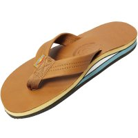 <img class='new_mark_img1' src='https://img.shop-pro.jp/img/new/icons14.gif' style='border:none;display:inline;margin:0px;padding:0px;width:auto;' />【RAINBOW SANDALS】DOUBLE LAYER CLASSIC LEATHER WITH ARCH SUPPORT TAN BLUE レザーサンダル レインボーサンダル