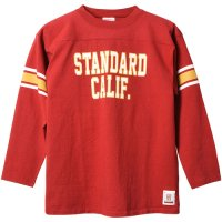 <img class='new_mark_img1' src='https://img.shop-pro.jp/img/new/icons24.gif' style='border:none;display:inline;margin:0px;padding:0px;width:auto;' />【STANDARD CALIFORNIA】SD HEAVYWEIGHT FOOTBALL LONG SLEEVE T RED ロンT スタンダードカリフォルニア