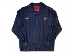 Rayon Flamingos LS Shirts. - BLUE NAVY