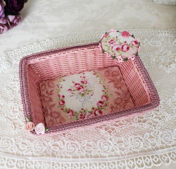 ピンクバスケット 薔薇柄