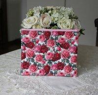 薔薇柄フラットポーチ