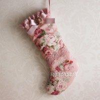 ヴィクトリアンクリスマスブーツ ピンクの薔薇