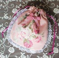 巾着ポーチ ピンクの薔薇