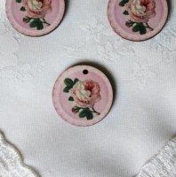 フランス製 木製ボタン   薔薇