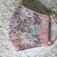 ヴィクトリアン少女柄&レースのマスク ピンク