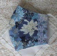 ブルーのお花とサイドレースのマスク