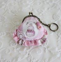 フリルが可愛いミニがま口 ピンクスィーツ柄